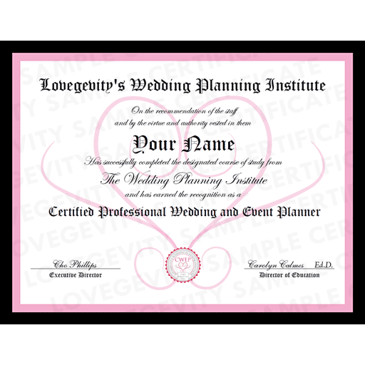 Lovegevity - Wedding & Event Planning Certification Sample